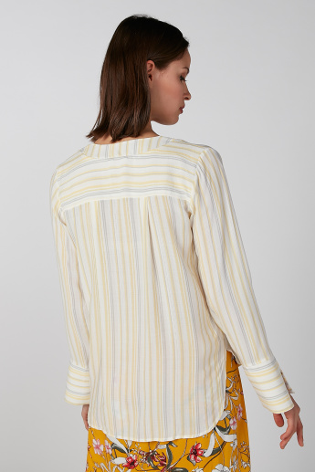 Koton Striped V-neck Top with Long Sleeves and High Low Hem