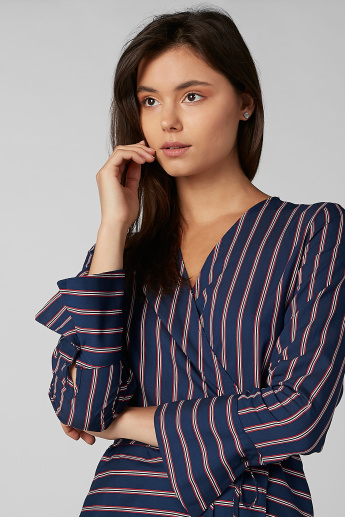 Koton Striped Top with V-neck and Long Sleeves