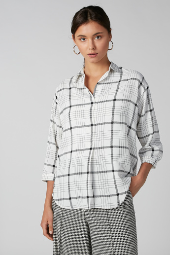 Koton Chequered Shirt with 3/4 Sleeves