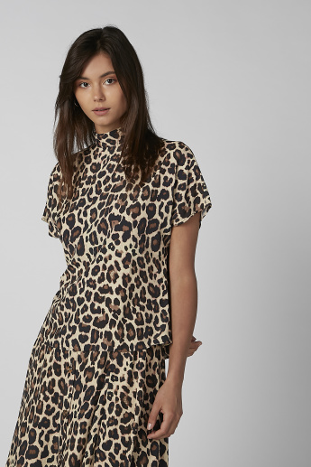 Koton Animal Printed Top with Short Sleeves