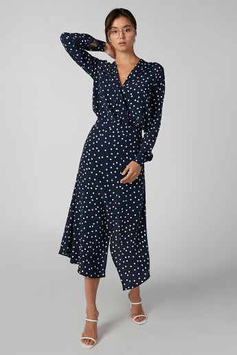 Koton Polka Dot Printed Top with V-neck and Long Sleeves