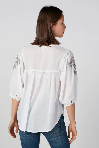 Koton Embroidered V-neck Top with 3/4 Sleeves