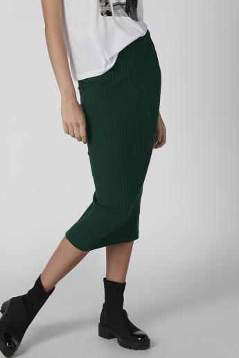 Koton Ribbed Midi Bodycon Skirt with Elasticised Waistband