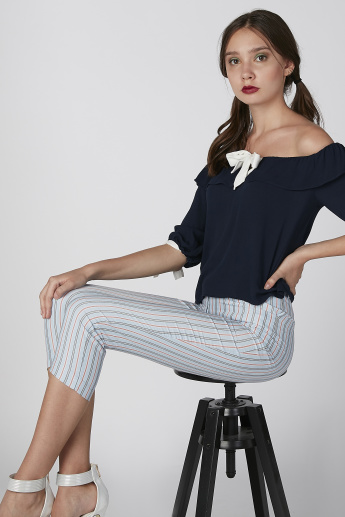 Koton Striped Cropped Trousers with Pocket Detail