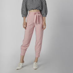 Koton Plain Cropped Pants with Pocket Detail and Tie Up Belt