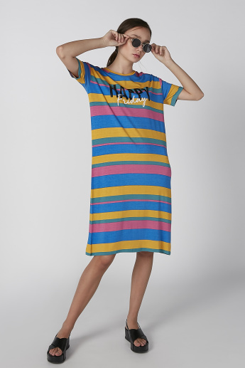 Koton Striped Midi Shift Dress with Round Neck and Short Sleeves