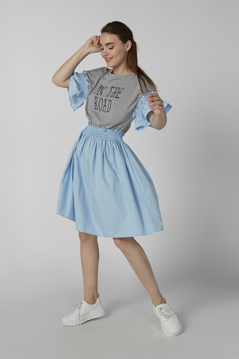 Koton Printed Midi Skater Dress with Smocking Detail