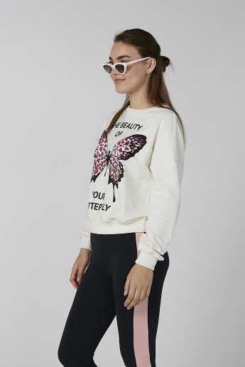 Koton Printed Sweatshirt with Round Neck and Long Sleeves