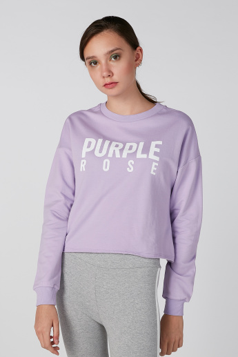 Koton Printed Sweatshirt with Round Neck and Cuffed Long Sleeves