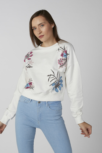 Koton Floral Print Sweatshirt with Round Neck and Long Sleeves