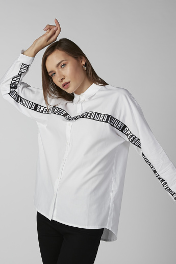 Koton Printed Shirt with Long Sleeves and Complete Placket