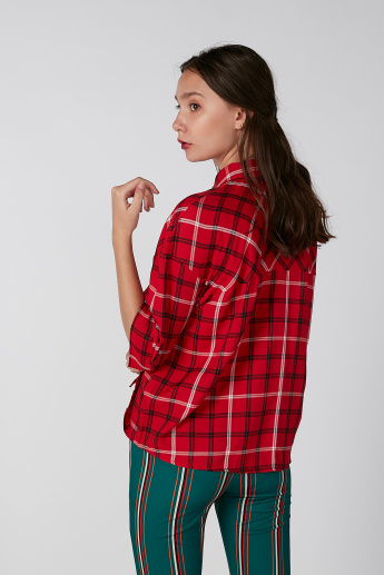 Koton Chequered Shirt with 3/4 Sleeves and Chest Pocket Detail