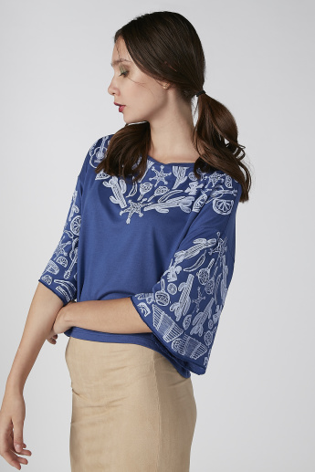 Koton Printed Top with Round Neck and Flared Sleeves