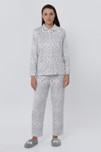 Printed Shirt and Pajama Set