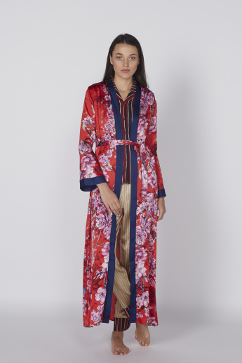 Printed Open Front Maxi Robe with Long Sleeves and Tie Up Closure