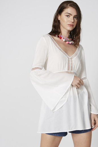 V-Neck Top with Bell Sleeves and Cut Work Detail