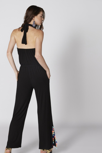 Full Length Jumpsuit with Halter Neck and Pocket Detail