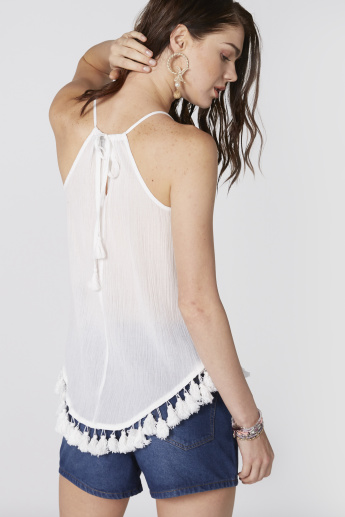 Lace Detail Top with Tie Up and Tassels