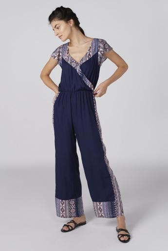 Printed Jumpsuit with V-Neck and Flared Sleeves