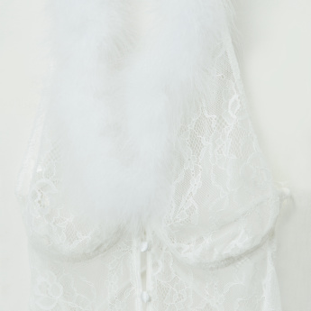 Lace and Plush Detail Monokini with Tie Ups