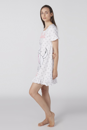 Marie Printed Sleep Dress with Round Neck and Ruffle Sleeves