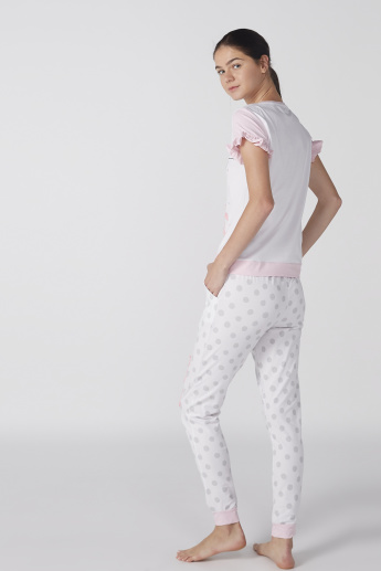 Marie Printed Round Neck Top with Jog Pants