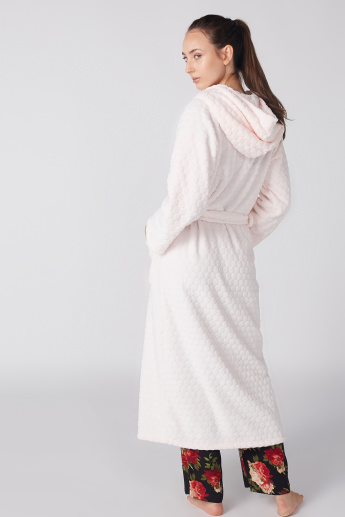 Textured Long Sleeves Robe with Hood and Tie Up Belt