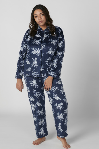 Floral Printed Long Sleeves Shirt and Pyjama Set