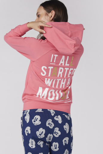 Mickey Mouse Applique Detail Jacket with Long Sleeves and Zip Closure