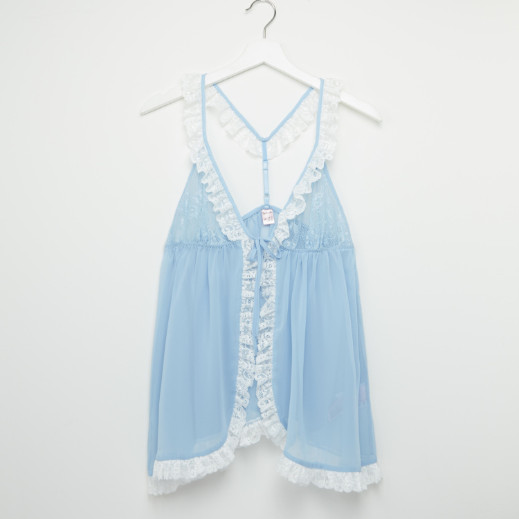 Lace Detail Babydoll with Tie Ups