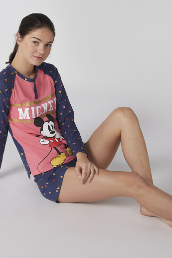 Mickey Mouse Printed Raglan Sleeves T-Shirt with Shorts