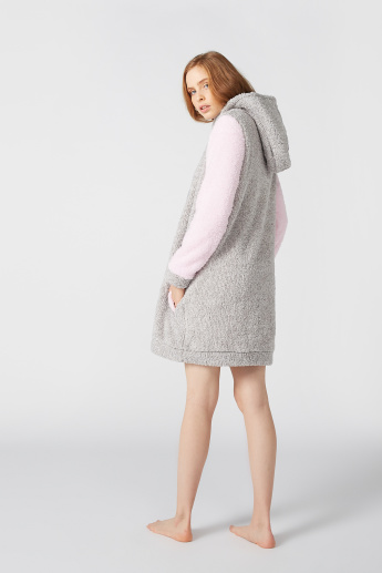 Textured Sleep Dress with Hood and Pocket Detail