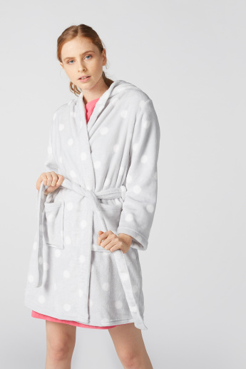 Plush Robe with Hood and Pocket Detail
