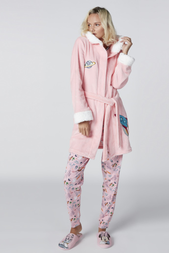Printed Plush Robe with Long Sleeves and Tie Up Belt