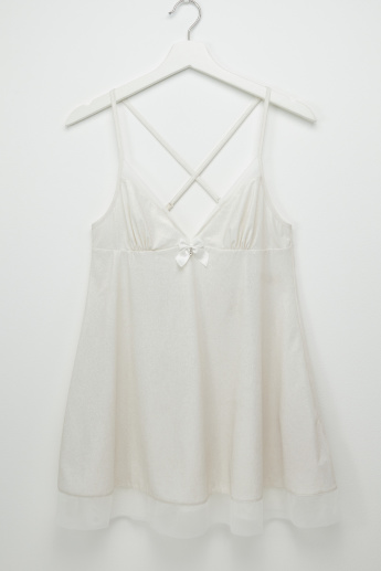 Plain Babydoll with V-neck and Bow Detail
