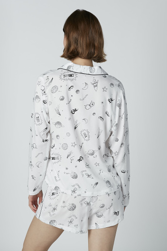 Printed Long Sleeves Shirt with Shorts