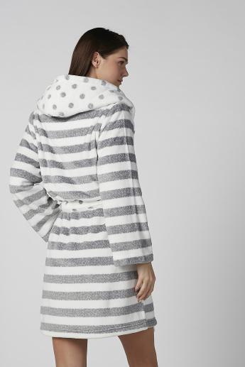 Striped Long Sleeves Robe with Hood and Tie Ups
