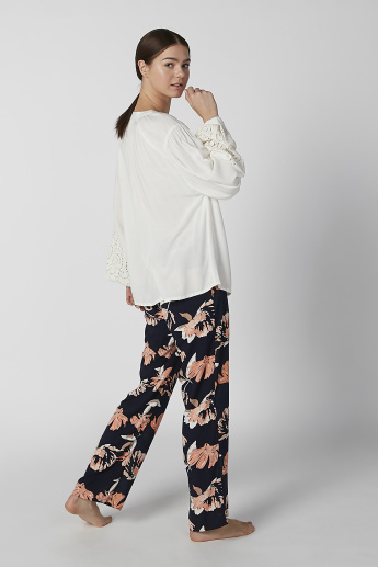 Plain Top with Tie Ups and Full Length Printed Pyjama Set