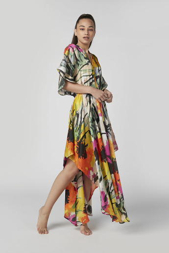 Printed Maxi Dress with V-neck and Flared Sleeves