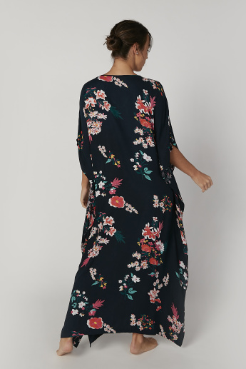 Printed Maxi Kaftan Dress with V-neck