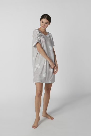 Printed Sleep Dress with Boat Neck and Short Sleeves