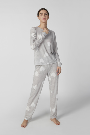 Printed Long Sleeves T-shirt and Full Length Pyjama Set