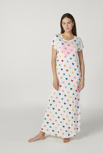 Printed Maxi Sleep Dress with Round Neck and Short Sleeves