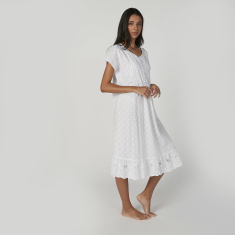 Schiffli Detail Night Dress with V-neck and Short Sleeves