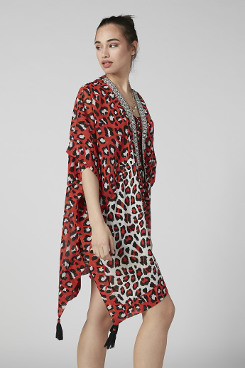 Animal Printed Kaftan Shrug with Tassels