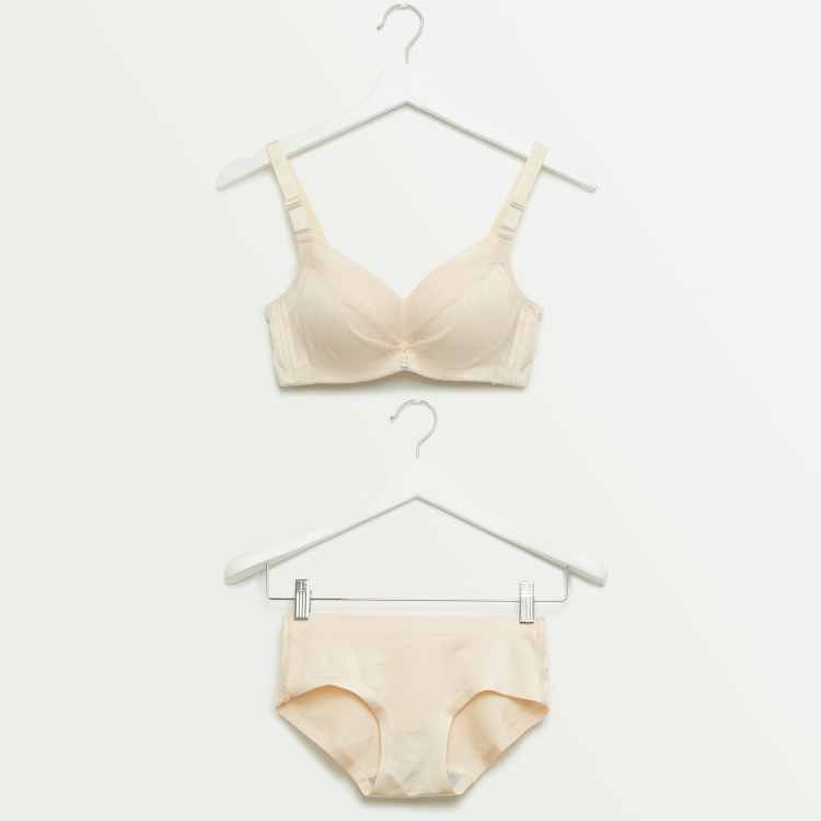 Plain Padded Basic Bra with Hipster Briefs