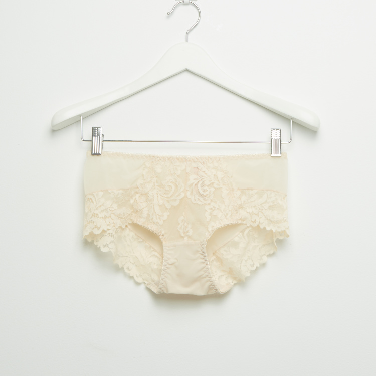 Lace Padded Plunge Bra with Hipster Briefs
