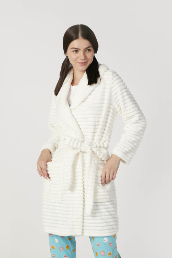 Textured Robe with Long Sleeves and Tie Ups