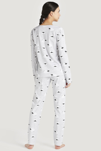 Sustainable Printed Long Sleeves T-shirt and Pyjama with Eye Mask