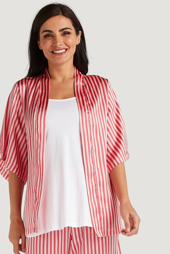 Sustainable Striped Nightshirt with Tie Ups and Full Length Pyjama Set